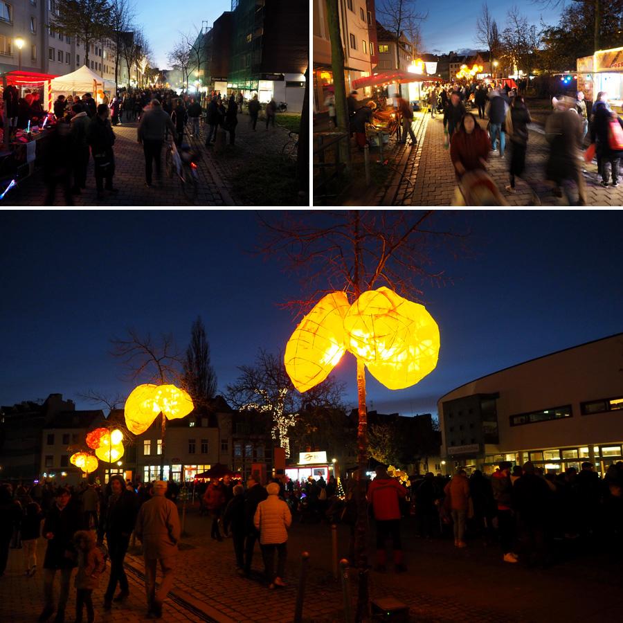 Alles ist erleuchtet - die Lindenhofstraße verwandelt sich in eine leuchtende Flaniermeile.
