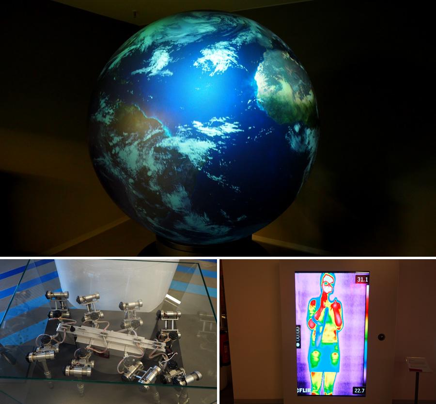"""Der Blick von außen - so sieht unser Planet aus dem All aus (oben). Der Laufroboter """"Skorpion"""" (unten links) ist mit seinen acht Beinen recht mobil. Temperaturen spielen auch in der Raumfahrt eine wichtige Rolle (unten rechts)."""