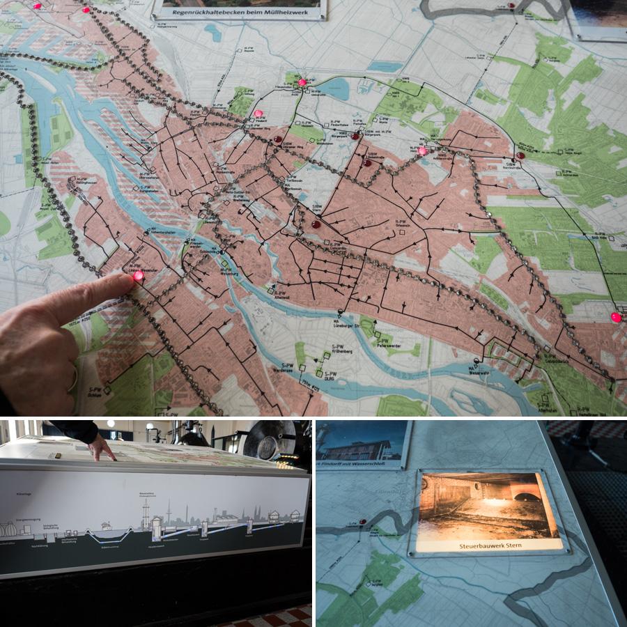 Der Bremer Abwasserplan. Ein Netzwerk unter der Stadt. Am Stern zum Beispiel befindet sich ein ziemlich großes unterirdisches Steuerbauwerk, wo Abwasser umgeleitet werden kann (Bild unten rechts). Oben sieht man nichts davon.