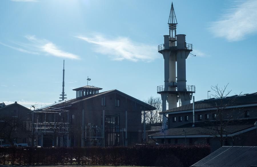 """Die """"Rakete"""" wird von Fachleuten Wasserschloss genannt und dient dem Druckausgleich moderner Pumpwerke."""