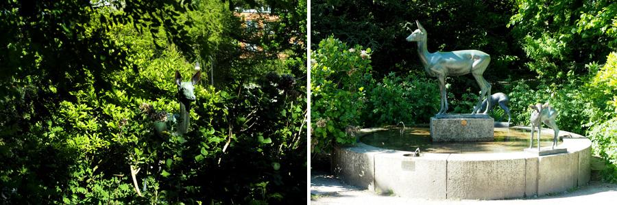 Der Rehbrunnen stammt vom Bildhauer Ernst Gorsemann, der auch am Entwurf des Ehrenmals auf der Altmannshöhe beteiligt war. Die niedliche Rehszenerie fand ich in der Nähe der Mühle.