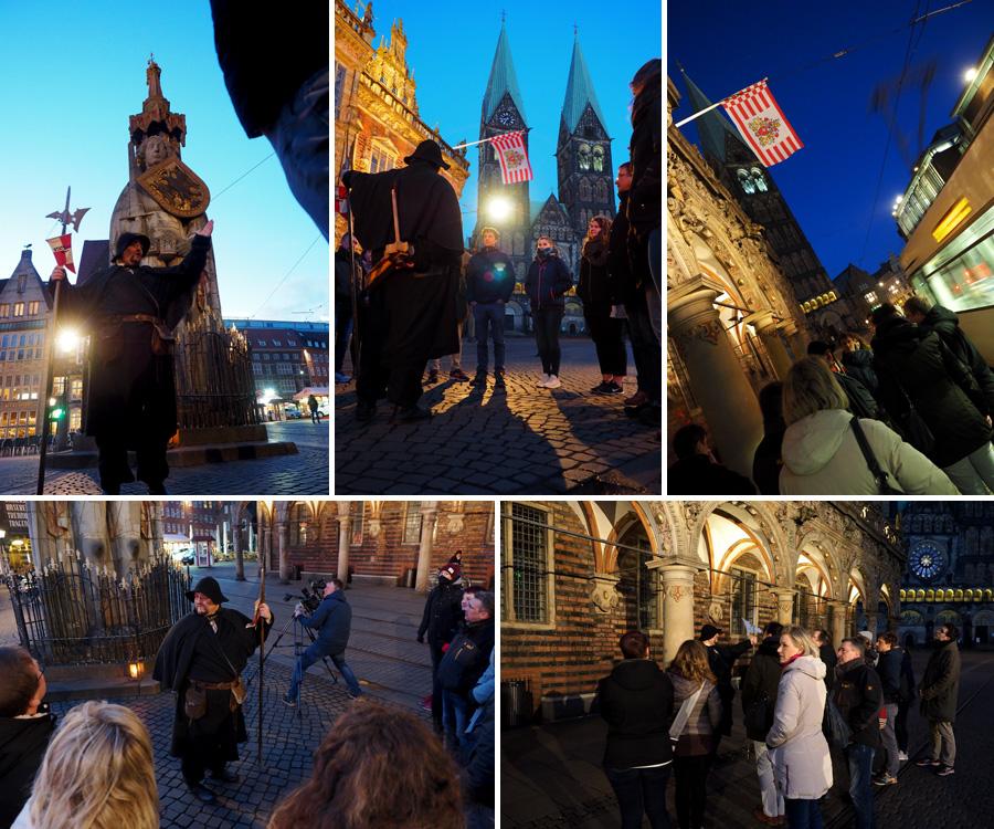 Anekdoten zum Roland und über die Fassade des Rathauses, während der Kameramann aus verschiedenen Perspektiven alles filmte. Alles immer mit einem Auge auf die Lindwürmer, die unerbittlich an uns vorbeizogen.