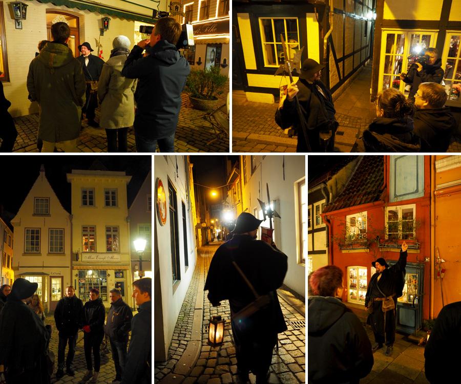 Ab ins Schnoor: In Bremens ältestem Quartier führte uns Nachtwächter Marcus von kleinen Häuser zu noch kleineren und durch schmale Gassen in noch schmalere Gänge.