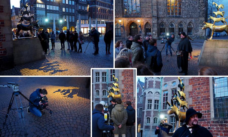 Schönes Motiv: Natürlich dürfen die Stadtmusikanten nicht fehlen auf so einem Rundgang durch Bremen. Auch nicht auf dem Filmmaterial!