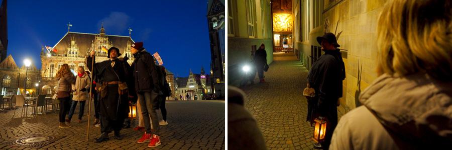 Auch vor der Böttcherstraße sollten wir kurz warten, bis der Kameramann sich entsprechend positioniert hatte.