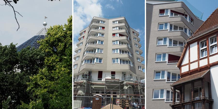 Einst ein Wasserturm, dann nur noch der Sockel und heute ein Neubau. An der Karl-Peters-Straße.