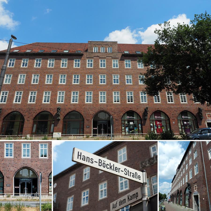 Das Volkshaus mit seiner beeindruckenden Fassade inklusive einiger Repliken der Hoetger-Plastiken.