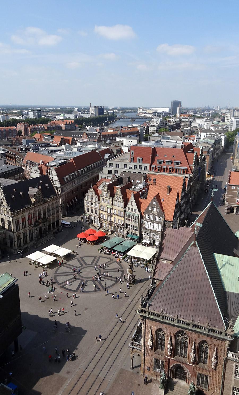 Blick auf die Bremer City, Standort: Domuhr im Nordturm