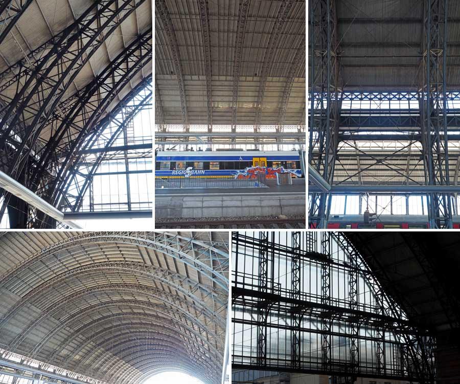Beeindruckende Konstruktion - die Gleishalle überspannt einen Großteil der Bahnsteige und Gleise. Auch Güterzüge rauschen hier durch.