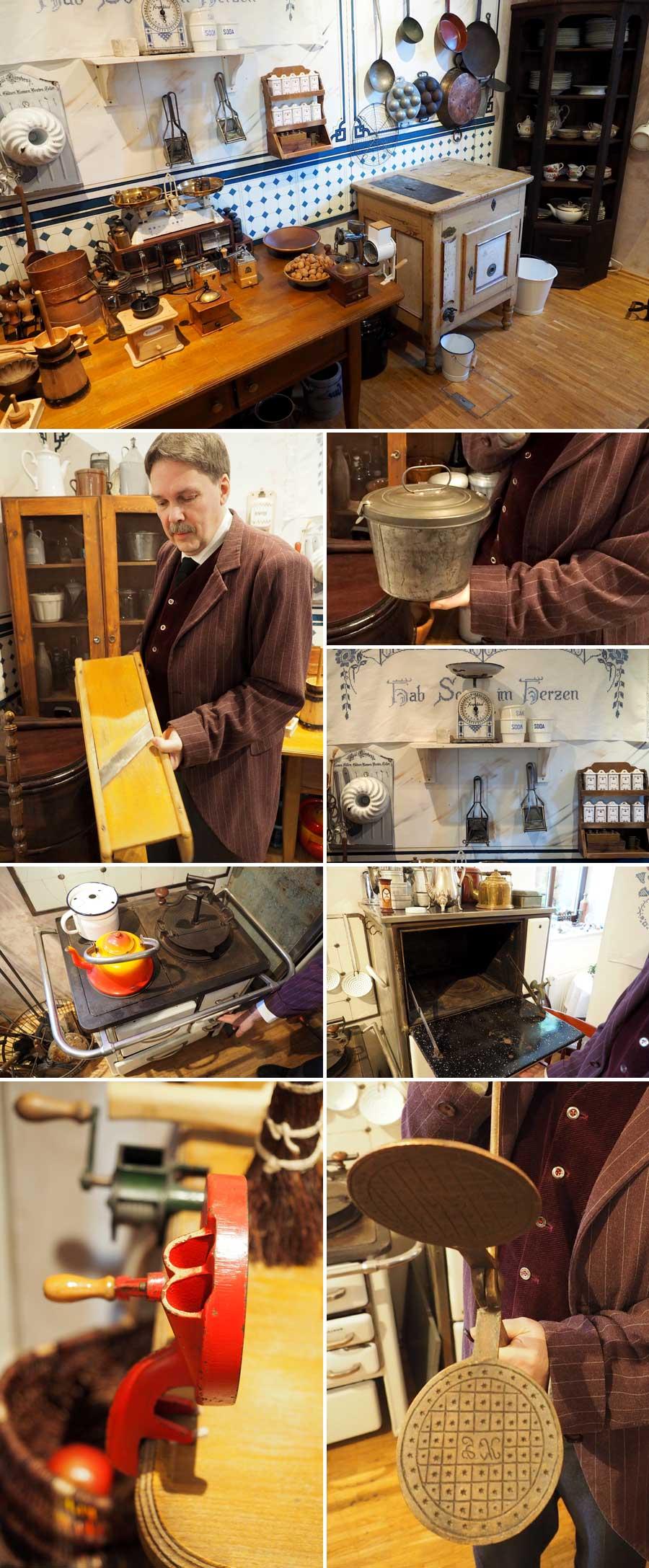 Eine Küche, wie sie um 1900 existierte. Besucherinnen und Besucher können alles ausprobieren und tauchen so in eine andere Zeit ein.