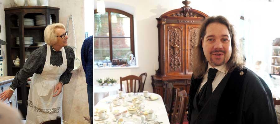 Die Köksch (Köchin) Amalie führt durch ihre Küche. Der Sekretär Albert ist unter anderem im Salon tätig.
