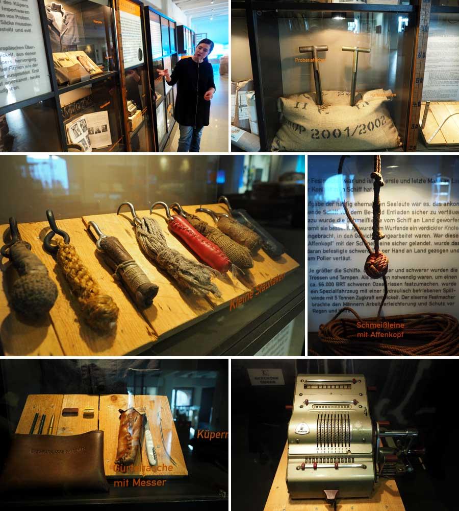 """Typische Werkzeuge für einst hafenspezifische Berufe. Oben rechts sind die Probenstecher des Küpers zu erkennen. Von dieser Aufgabe stammt das Wort """"Stichprobe""""."""