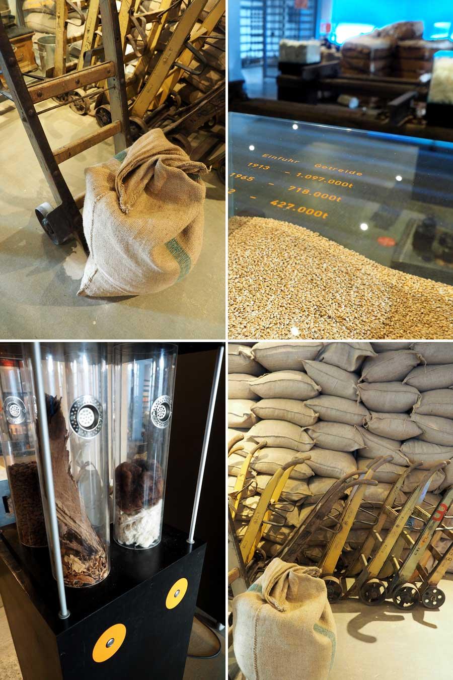 Etwa 60 Kilo wiegt so ein Kaffeesack (oben links). Neben Kaffee wurden vor allem Getreide, Baumwolle und Tabak in Bremen umgeschlagen.