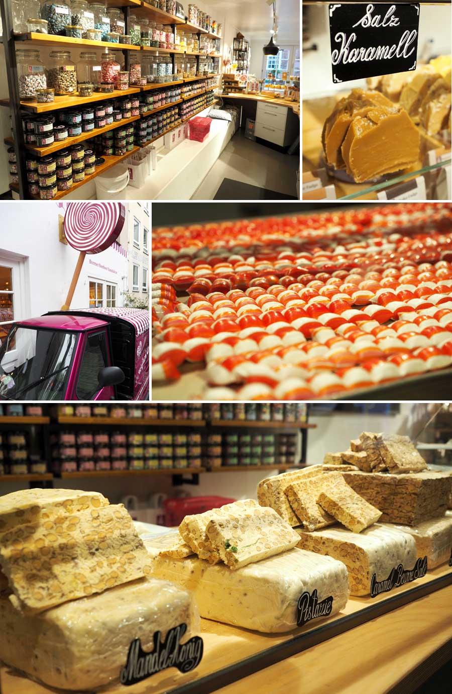 Von Fudge über Bonbons bis Französisches Nougat: In der Bremer Bonbonmanufaktur weiß man gar nicht, wo man als erstes probieren soll. So viele Leckereien!