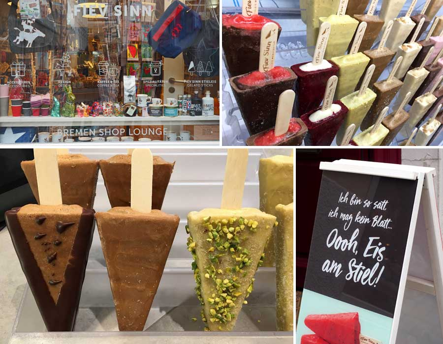 """Ice, Ice, Baby! Nicht nur für wärmere Tage. Das Eis am Stiel bei """"Fiev Sinn"""" - die Geschmacksrichtungen variieren je nach Jahreszeit. (Fotos oben rechts und unten links: Fiev Sinn)"""