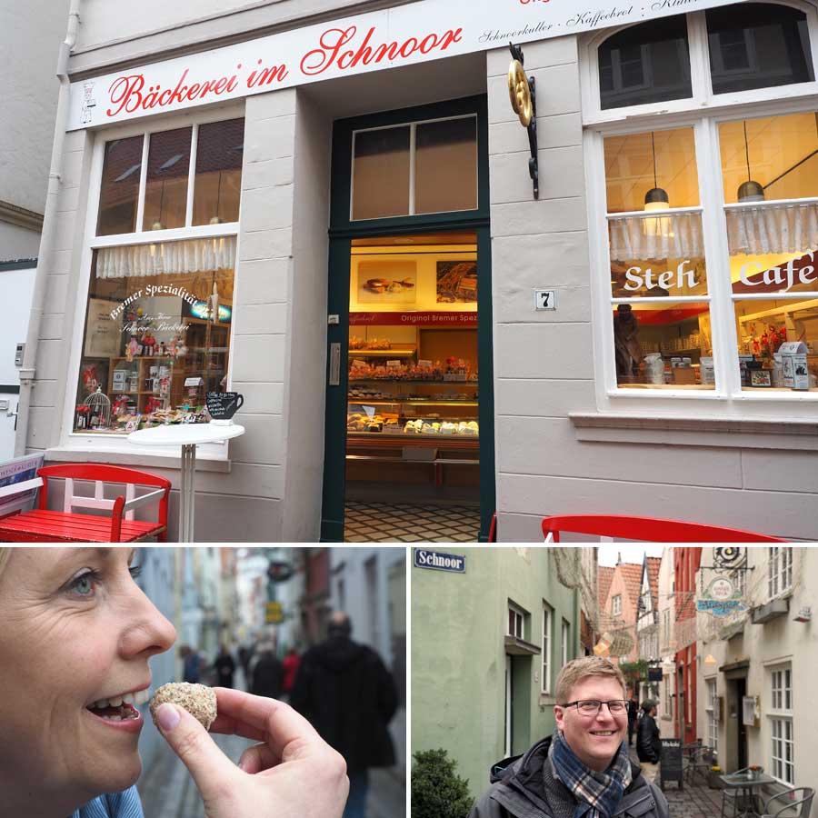In der Bäckerei im Schnoor gibt's die leckeren Schnoorkuller, auf die sich Silke (unten links) schon gefreut hat. Gästeführer Guido Klostermann findet sie auch ziemlich lecker.