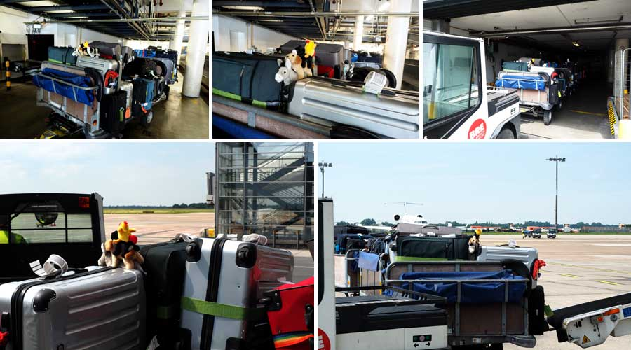 Auf den Trolleys ist das Gepäck meist schon so gepackt, dass es im Flieger dann gut gestapelt werden kann.
