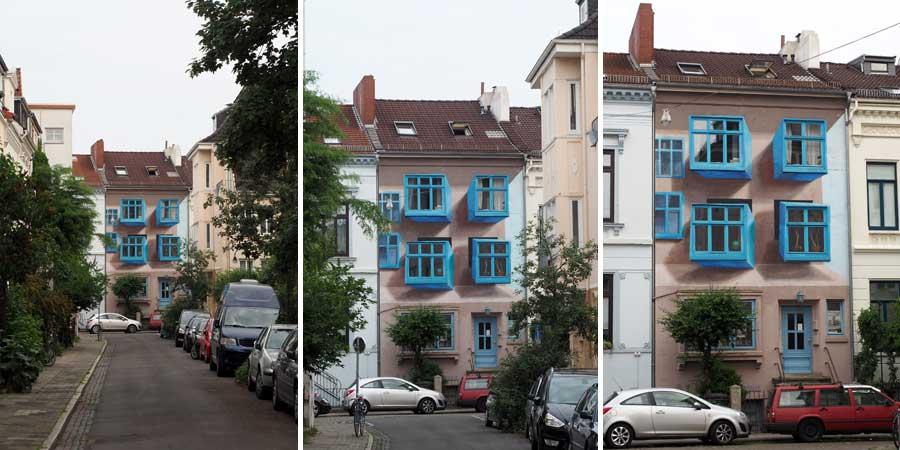 Ja, die Fenstererker sind gemalt. Wirklich! Aus der Nähe erkennt man es eher :) Künstler: Jimmi Päsler, http://jimmidpaesler.de/