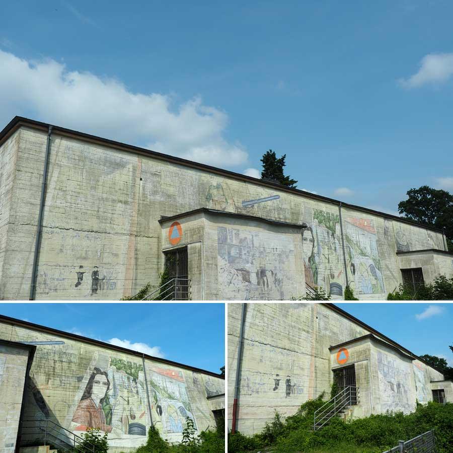 Der Bunker an der Bennigsenstraße stellt Szenen aus der Westfalensiedlung dar.