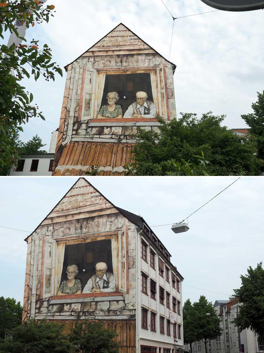 Stadtberühmt: Oma und Opa blicken seit 1976 aus ihrem Fenster Viertelbesucherinnen und -besuchern entgegen.