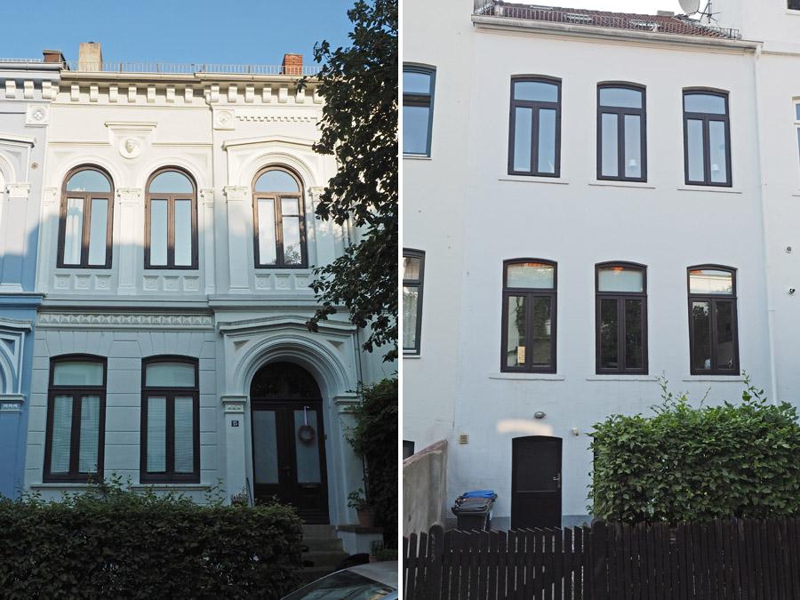 Von hinten wir von vorne? Nein, eben gerade nicht. Typisch für die klassischen Bremer Häuser ist der erhöhte Vordereingang, während es hinten dann ebenerdig in den Keller geht. Perfekt zu sehen in der Friedrichstraße (von hinten) und in der Mittelstraße (von vorne).