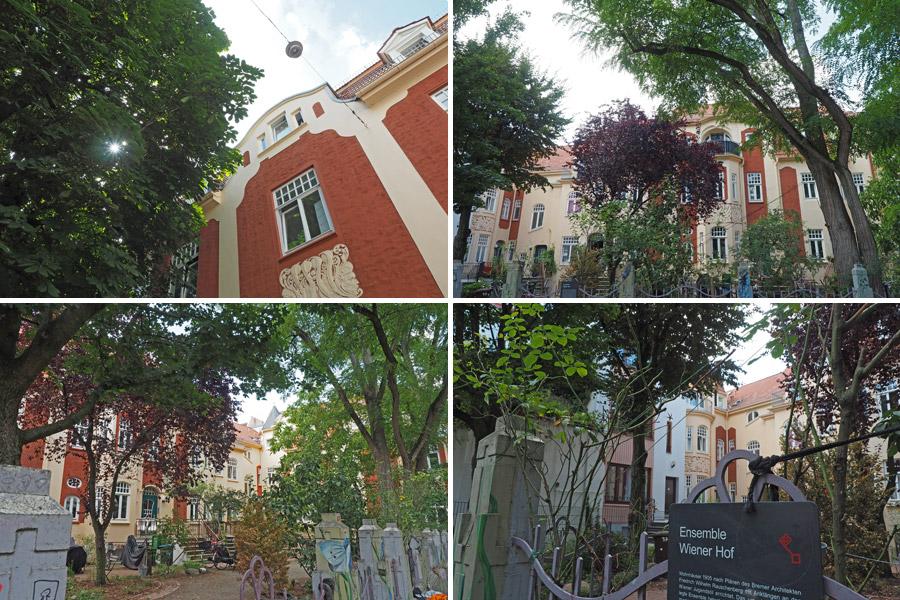 Das Wiener Hof-Ensemble: ein Mehrfamilienwohnkomplex, der die bis dahin klassische Wohnweise im Bremer Einfamilienhaus ablösen sollte.
