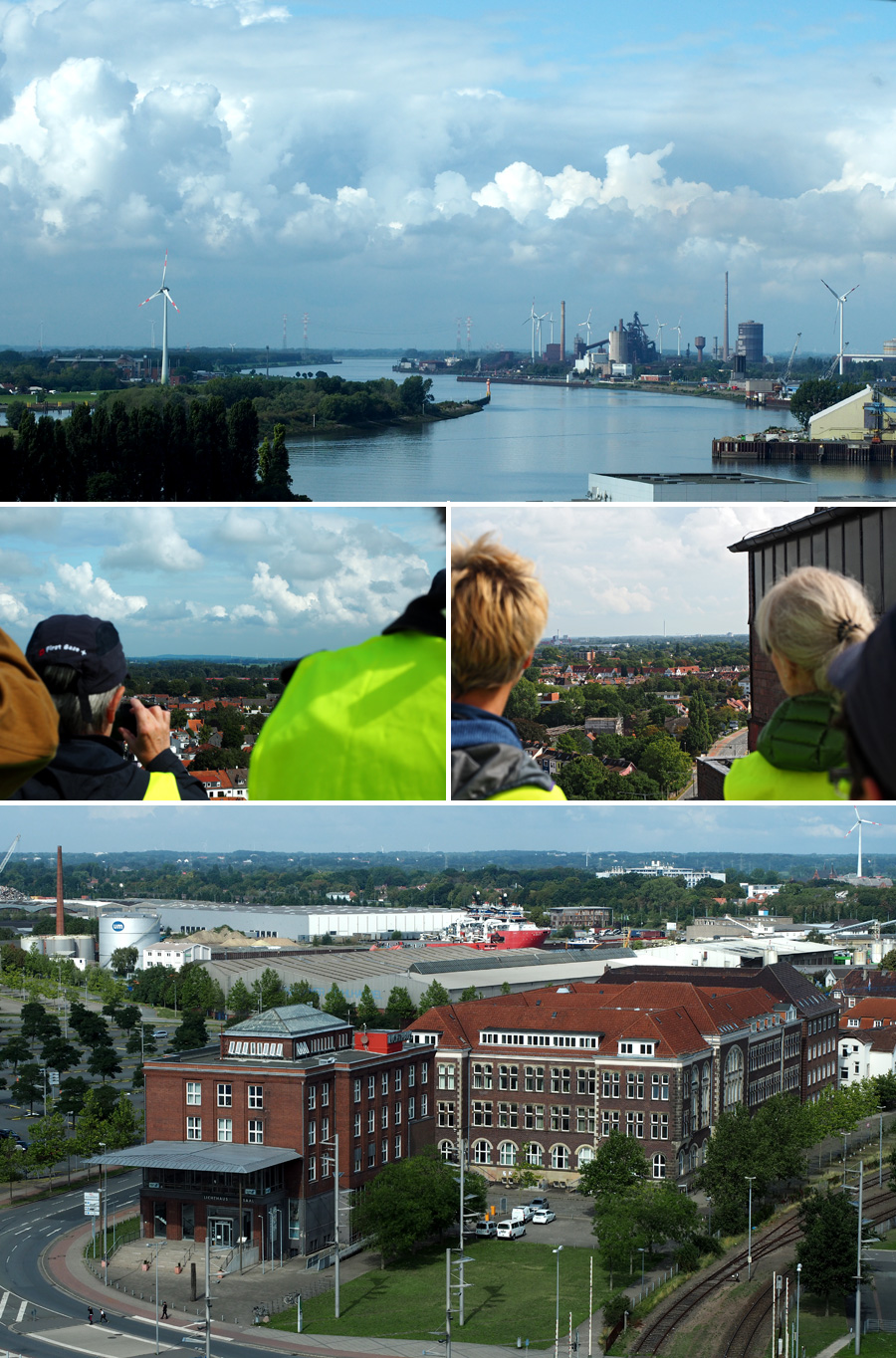 """Oben der Blick weserabwärts in Richtung Bremen-Nord. In der Mitte links lässt sich am Horizont der Weyer Berg bei Worpswede erkennen, rechts sieht man den Fallturm. Unten die ehemaligen Verwaltungsgebäude der """"AG Weser"""", die hier einst ansässig war."""