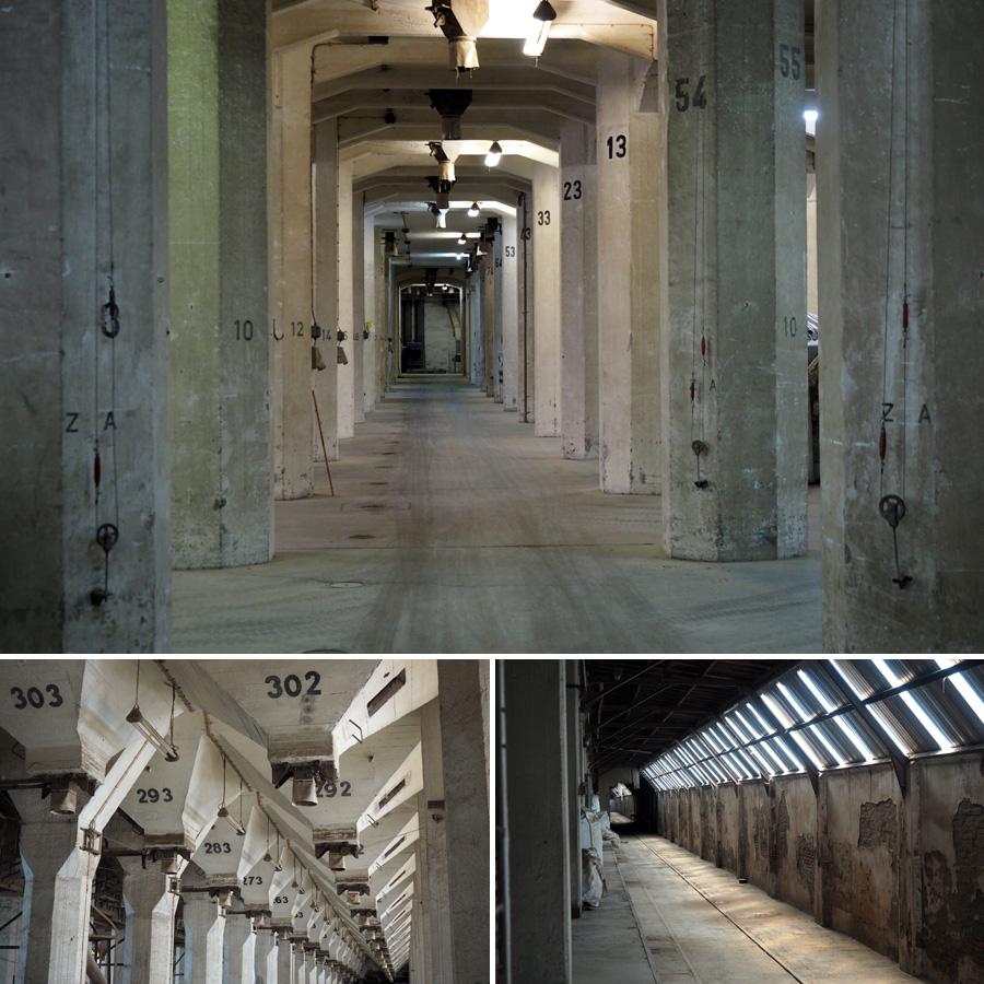 Verladebahnhof: Säulen und Trichter soweit das Auge reicht. In der großen Halle unterhalb der Zellen wird das Getreide auf LKWs für den Weitertransport verladen.