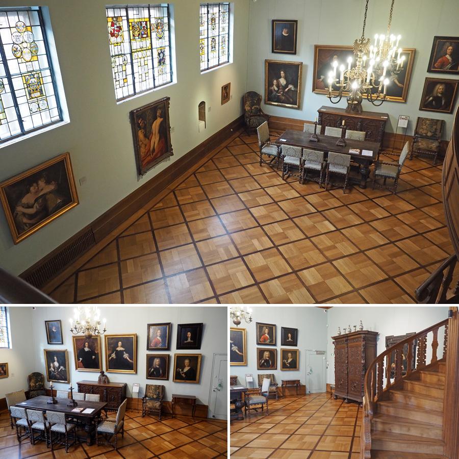 Der Treppensaal mit Parkett, Eichenholztafel und Ölgemälden aus der Renaissance und dem Barock.