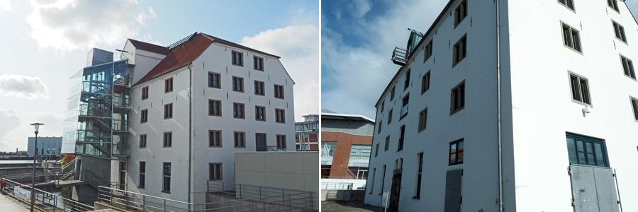 Alt und modern zugleich: Trotz angebautem Treppenhaus mit Fahrstuhlschacht lässt das Speichergebäude immer noch erkennen, wir alt es eigentlich ist.