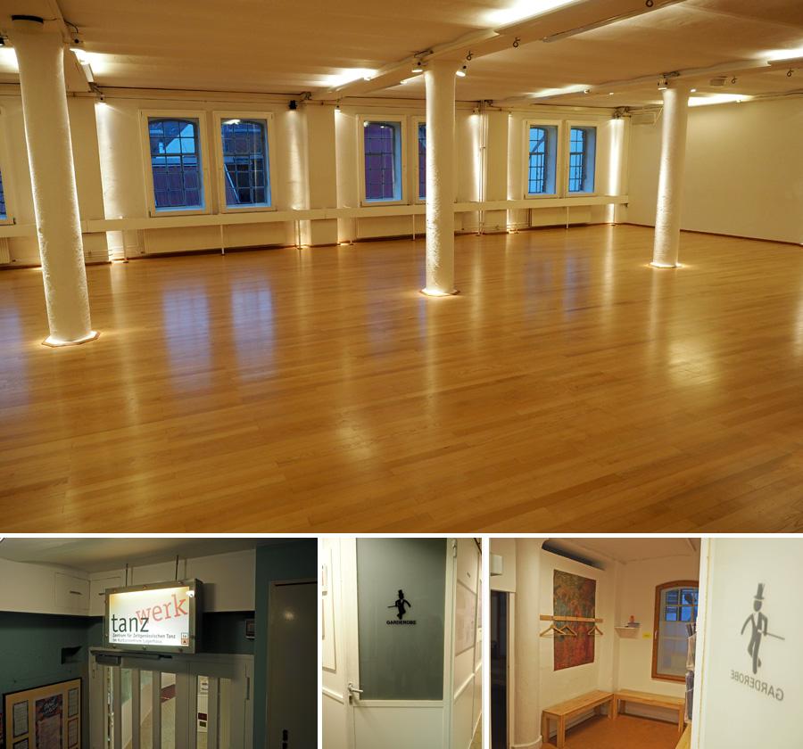 """Schmuckstück: Der Tanzsaal vom """"tanzwerk"""" in der zweiten Etage ist eine wahre Schönheit."""