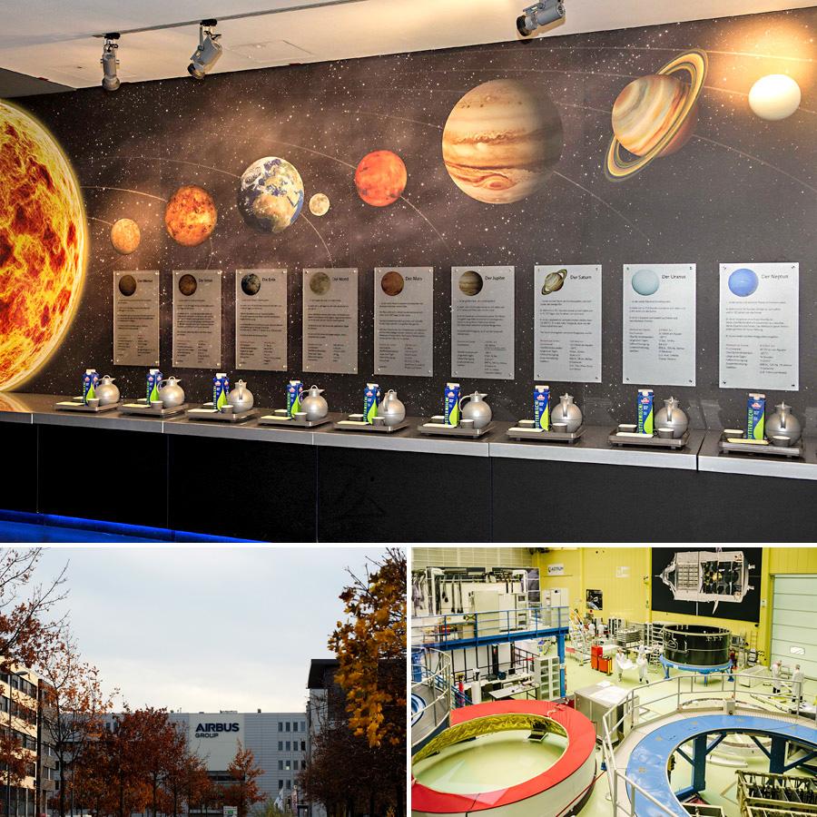 Als ein wichtiger Standort in der Raumfahrtforschung und -technologie darf natürlich auch dieser Wissenschaftsbereich im Themenjahr nicht fehlen. Es wird Führungen und andere spannende Einblicke geben. Foto oben: Hergen Deuther / AIRBUS. Foto unten rechts: Jonas Ginter / WFB.