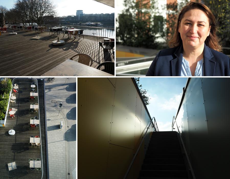 Auf der Dachterrasse lässt es sich bei Sonnenschein gut sitzen und genießen. Das findet auch die Hausleiterin Berna Demiroglu.