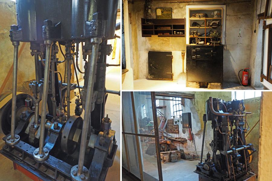 Zwar nicht mehr das Original, aber nahezu baugleich: Die alte Dampfmaschine war bis zur Umstellung auf Elektrik das Herz der Anlage. Oben rechts der Kesselraum, in dem ordentlich eingeheizt wurde, um die Maschine zum Laufen zu bringen.