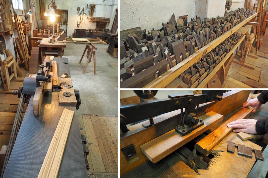 Eine sogenannte Kehlmaschine, mit der früher zum Beispiel Handläufe und Fußleisten hergestellt wurden. Für jede beliebige Form gab es entsprechende Messer (oben rechts).