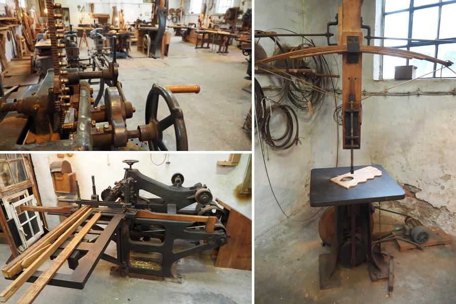Von Dekupiersäge (rechts) bis Zapfenschneidemaschine (links unten): Der Vielfältigkeit der Holzbearbeitung waren in dieser Werkstatt keine Grenzen gesetzt.