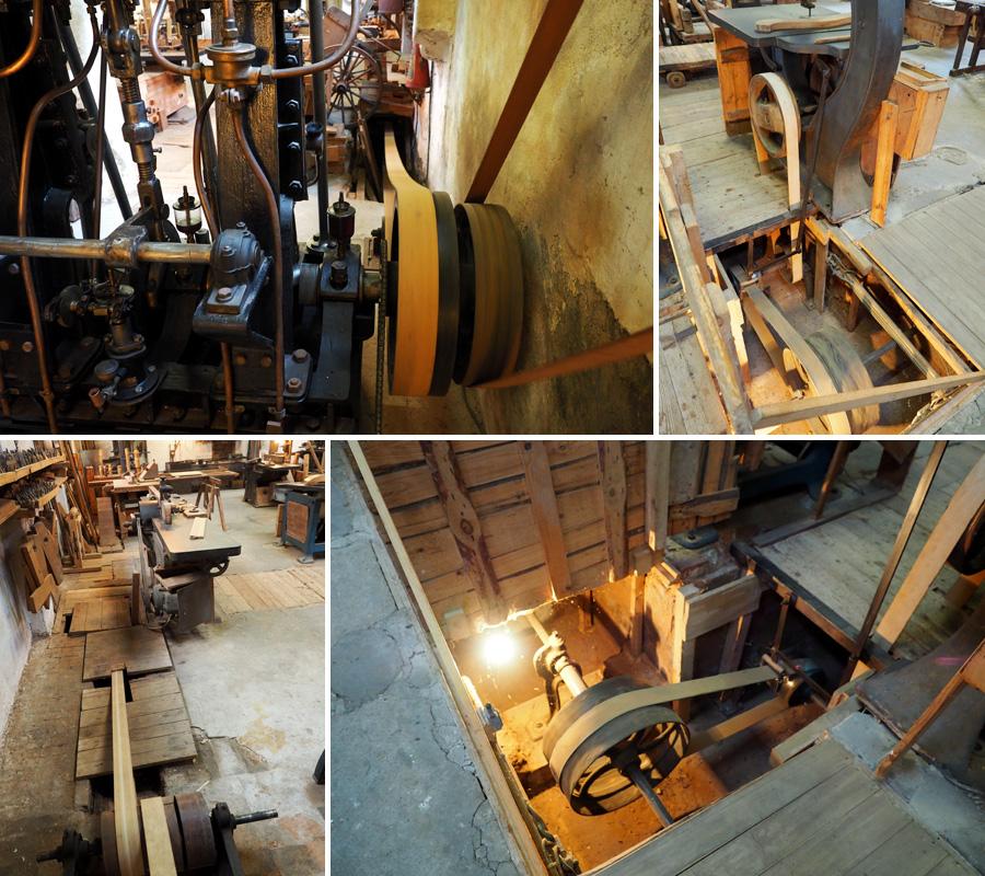 Die Adern der Anlage: Über die Transmissionsbänder, die in Bodenschächten verliefen, konnten die Maschinen einzeln angeschlossen und in Betrieb genommen werden.