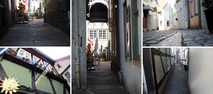 Durch schmale Gassen, auf historischen Wegen: Im Schnoor-Viertel sind auch die Nägelköpfe etwas enger gesteckt.